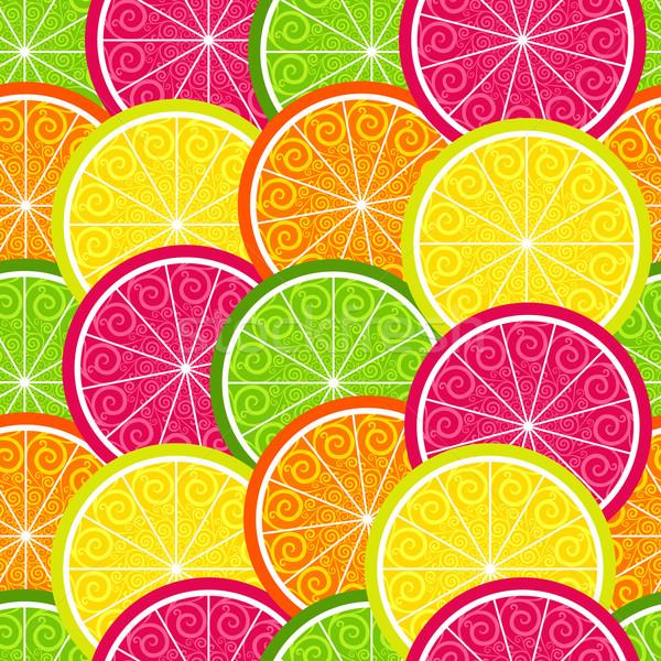 Seamless citrus colorful pattern Stock photo © OlgaDrozd