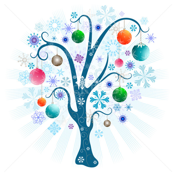 Christmas tree with balls Stock photo © OlgaDrozd