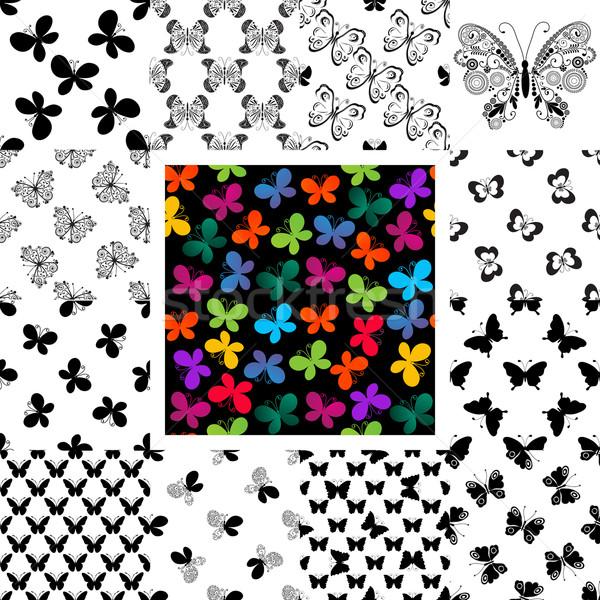Set seamless patterns with butterflies Stock photo © OlgaDrozd