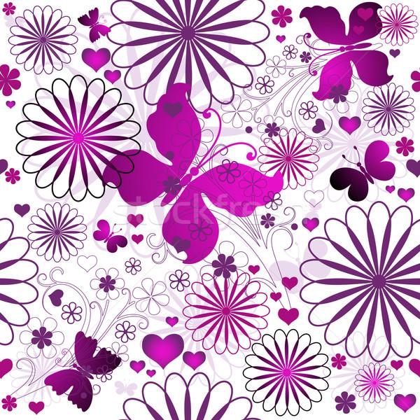 Valentin modèle floral fleurs papillons Photo stock © OlgaDrozd