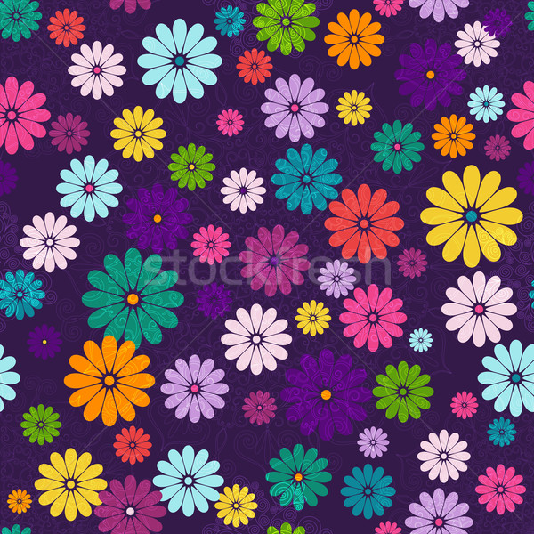 Seamless dark floral vivid pattern Stock photo © OlgaDrozd