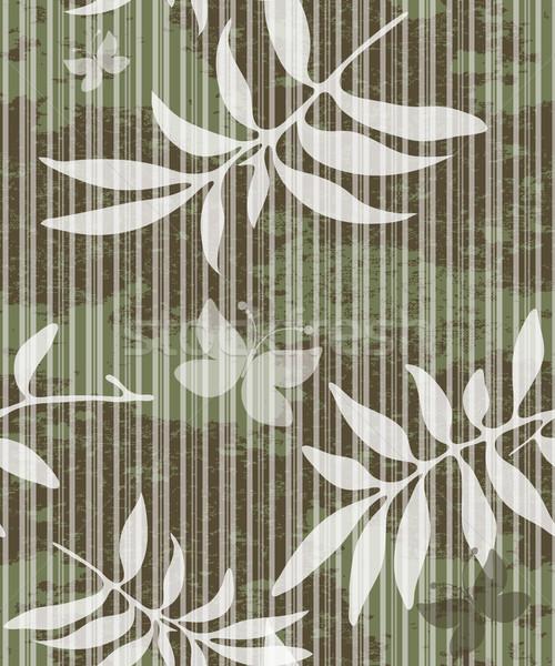 Foto stock: Sem · costura · sujo · padrão · folhas · listrado · branco