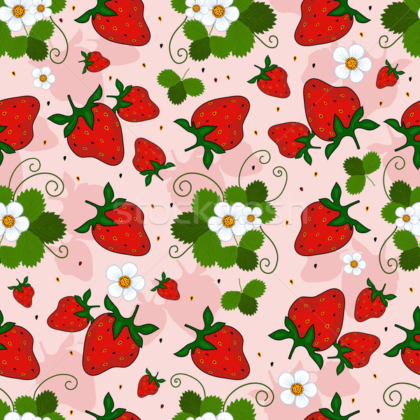 Pink repeating pattern with a strawberry Stock photo © OlgaDrozd