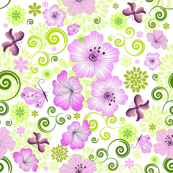 Spring repeating white floral pattern Stock photo © OlgaDrozd
