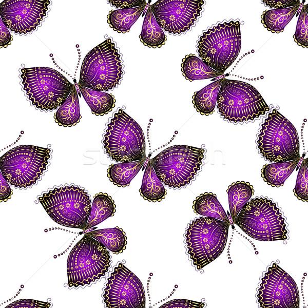 Kelebekler parlak mor bahar kelebek Stok fotoğraf © OlgaDrozd