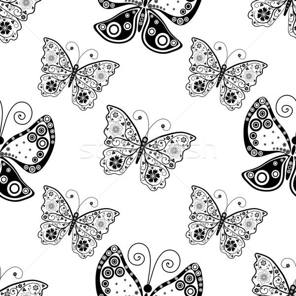 Végtelen minta sziluettek pillangók végtelenített fehér minta Stock fotó © OlgaDrozd