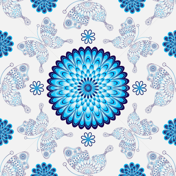 Sem costura branco padrão vintage azul flores Foto stock © OlgaDrozd