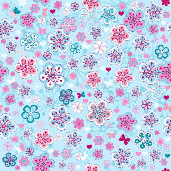 Bleu floral modèle printemps coloré Photo stock © OlgaDrozd
