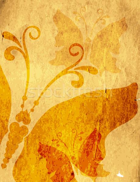 Oude Geel papier vlinders vector Stockfoto © OlgaDrozd