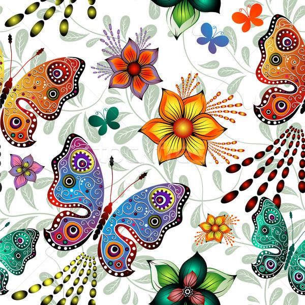 Sin costura floral patrón mariposas vector colorido Foto stock © OlgaDrozd