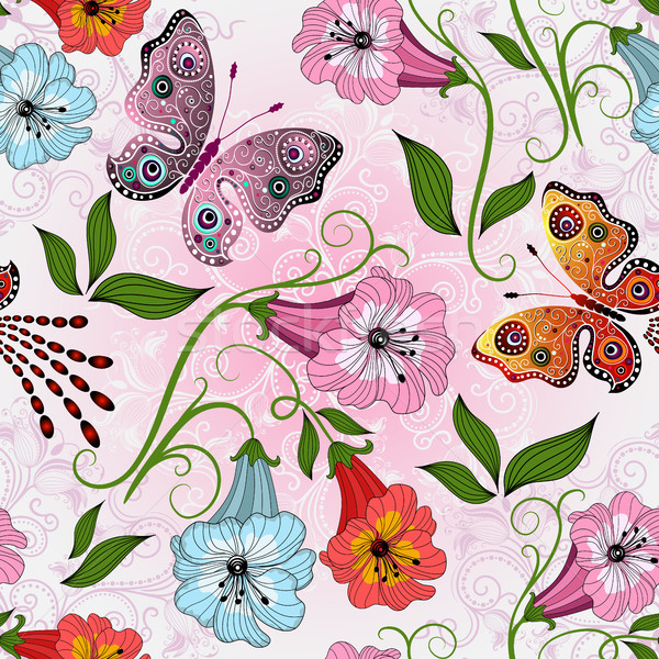 Seamless gentle floral pattern with colorful flowers Stock photo © OlgaDrozd