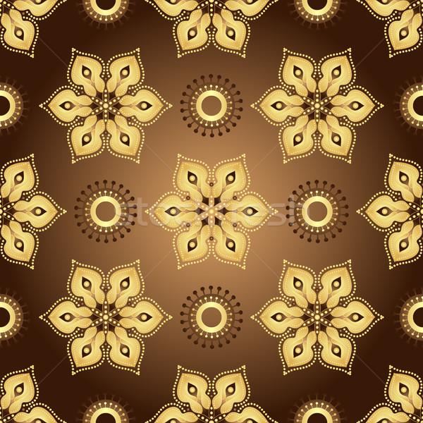 Vintage marrom gradiente dourado flores Foto stock © OlgaDrozd