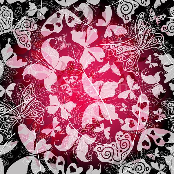 Сток-фото: бесшовный · темно · цветочный · шаблон · Purple · бабочки