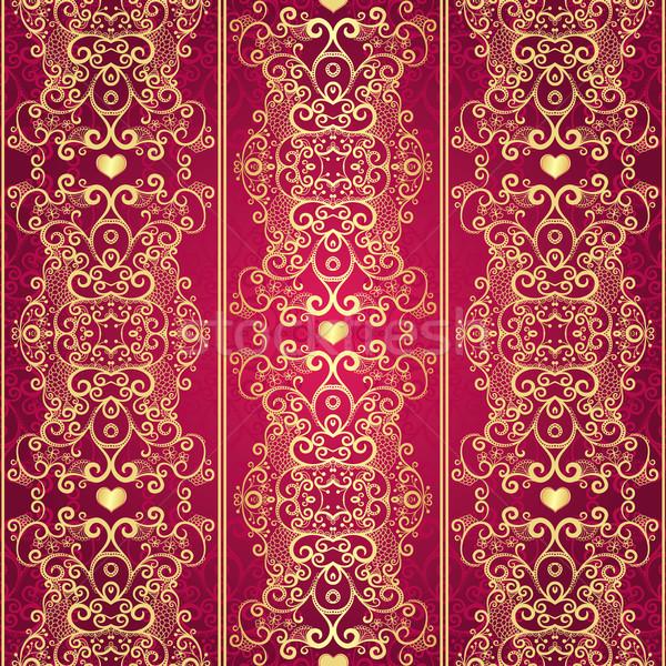 Seamless gold vintage lacy pattern Stock photo © OlgaDrozd
