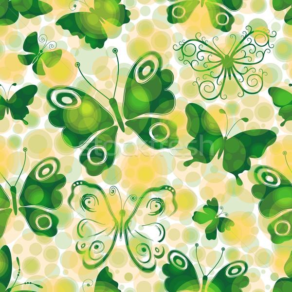 Manchado primavera verde mariposas sin costura Foto stock © OlgaDrozd