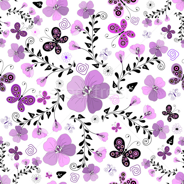 Seamless floral white pattern with violet flowers vector