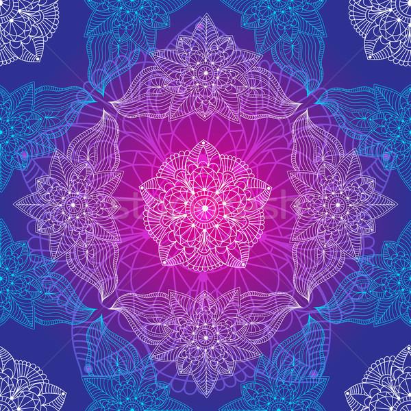 Klasszikus végtelen minta végtelenített minta virágok vektor Stock fotó © OlgaDrozd
