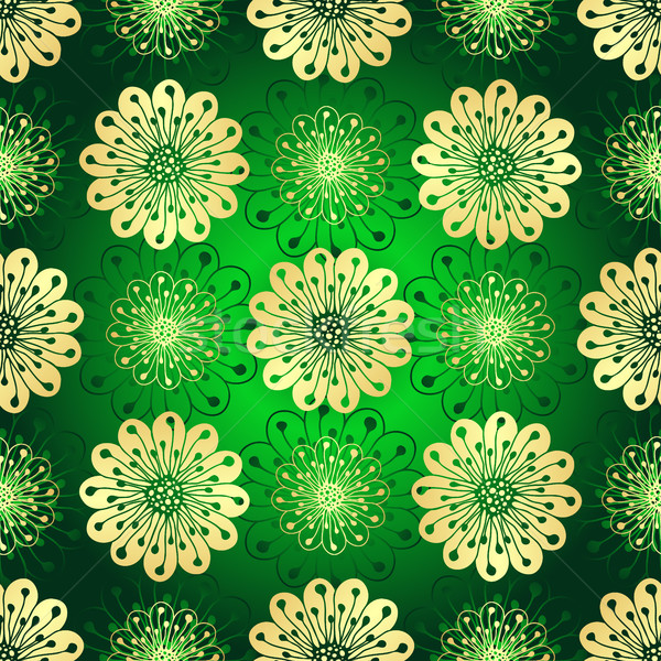 Vintage verde gradiente dourado flores Foto stock © OlgaDrozd