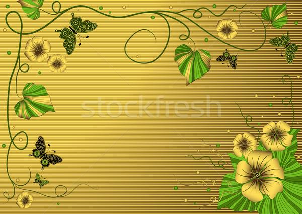 Décoratif floral or cadre or rayé Photo stock © OlgaDrozd