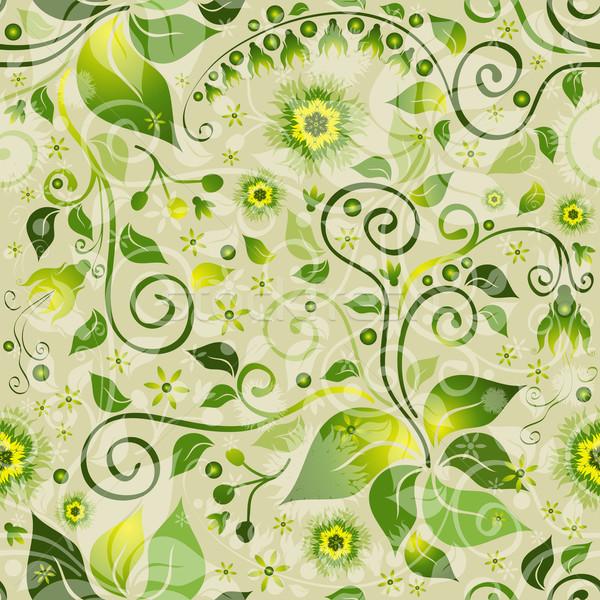 Vert floral modèle fleurs vintage Photo stock © OlgaDrozd