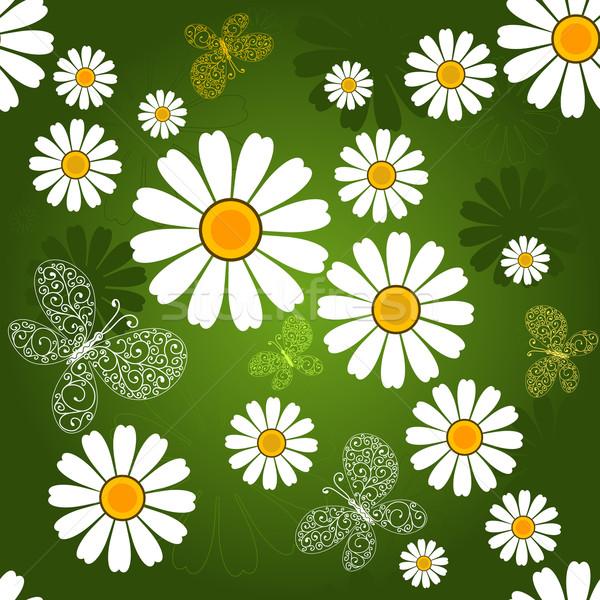 Végtelenített zöld virágmintás minta pillangók fehér virágok Stock fotó © OlgaDrozd