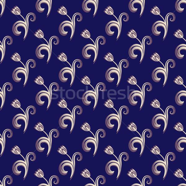 Dark blue seamless floral pattern Stock photo © OlgaDrozd
