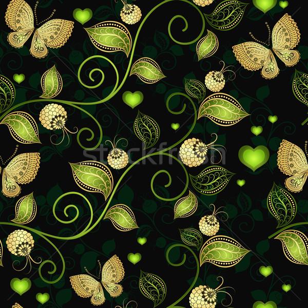 Sem costura escuro floral padrão ouro gradiente Foto stock © OlgaDrozd