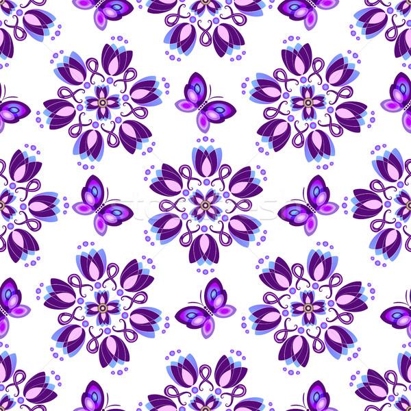 фиолетовый Vintage цветы бабочки вектора Сток-фото © OlgaDrozd