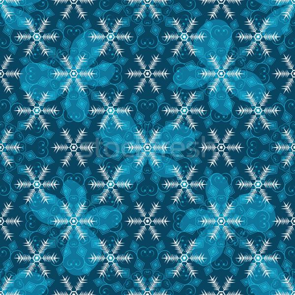 бесшовный синий полупрозрачный бабочки Сток-фото © OlgaDrozd