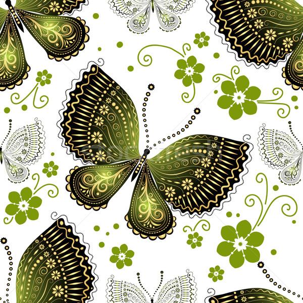 Foto stock: Sin · costura · floral · patrón · mariposas · verde · oro
