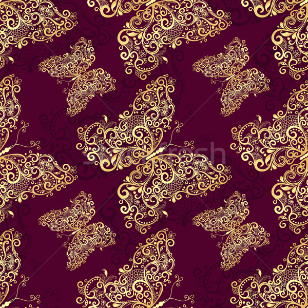 Seamless purple-gold pattern Stock photo © OlgaDrozd