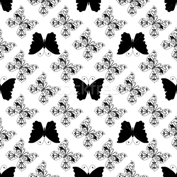 Seamless monochrome pattern of graphic vintage butterflies Stock photo © OlgaDrozd
