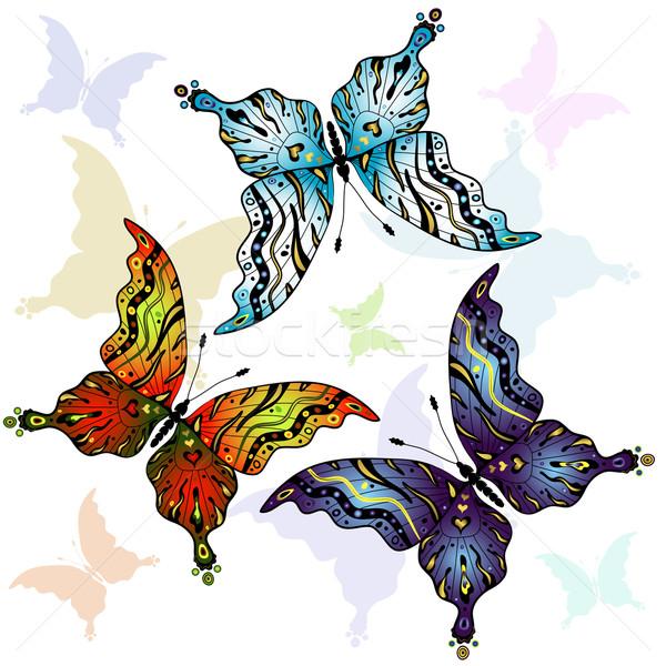 Conjunto colorido borboletas abstrato branco vetor Foto stock © OlgaDrozd