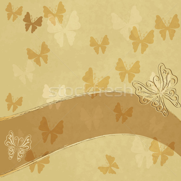 Old spotty paper with butterflies Stock photo © OlgaDrozd