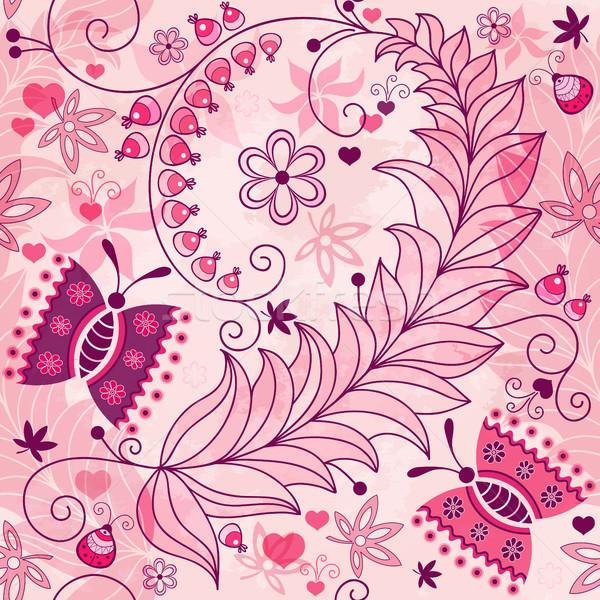 Foto stock: Sem · costura · primavera · grunge · floral · padrão · rosa