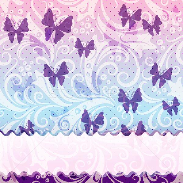нежный Vintage кадр полупрозрачный фиолетовый бабочки Сток-фото © OlgaDrozd