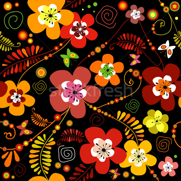 Motley seamless black flower pattern (vector) Stock photo © OlgaDrozd