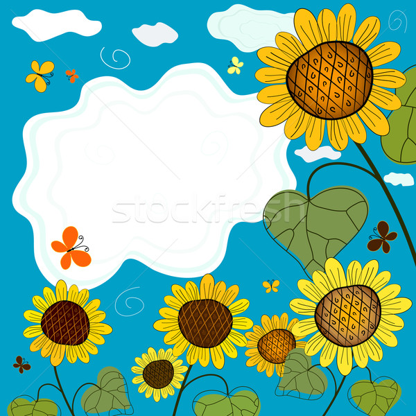 Summer background with sunflowers Stock photo © OlgaDrozd