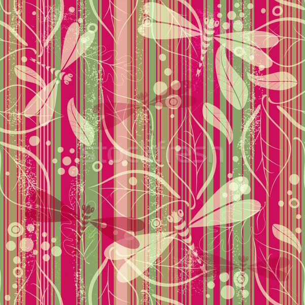 Foto stock: Sem · costura · listrado · sujo · padrão · folhas