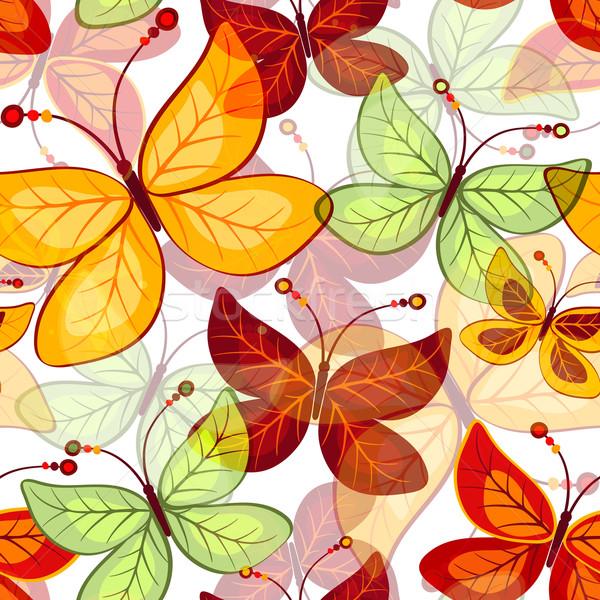 Foto stock: Sem · costura · outono · padrão · borboletas