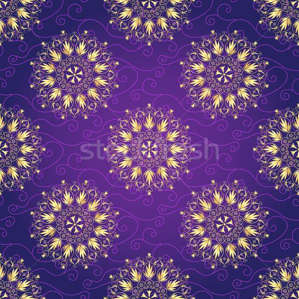Sombre violette motif de noël or Photo stock © OlgaDrozd