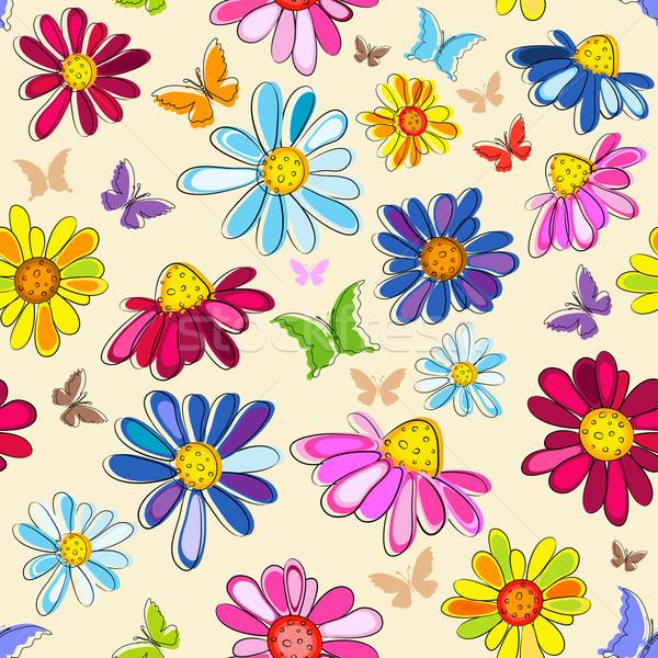 Effortless pink floral pattern Stock photo © OlgaDrozd