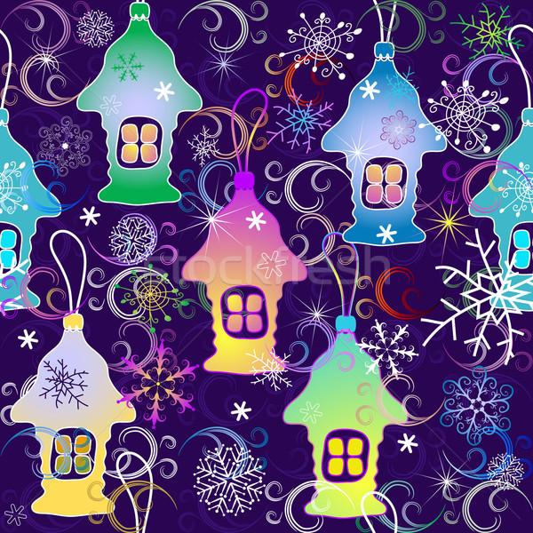 Noël violette flocons de neige jouet Photo stock © OlgaDrozd