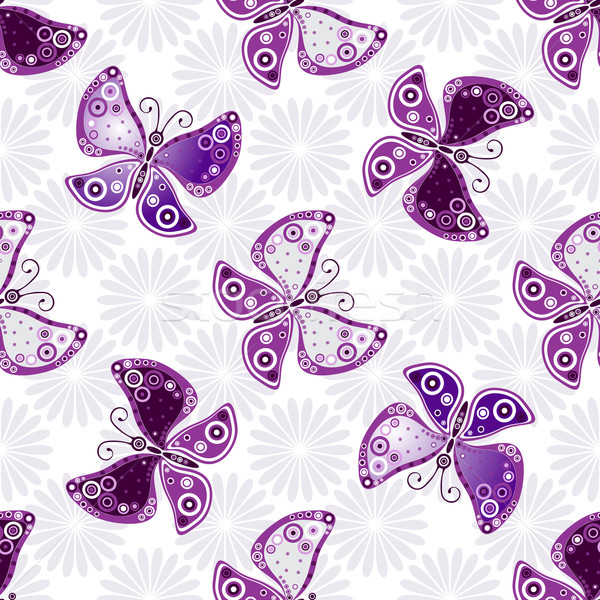 Seamless floral pattern with violet butterflies  Stock photo © OlgaDrozd