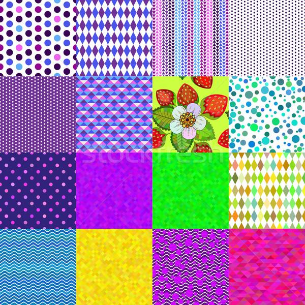 16 colorful seamless patterns Stock photo © OlgaDrozd