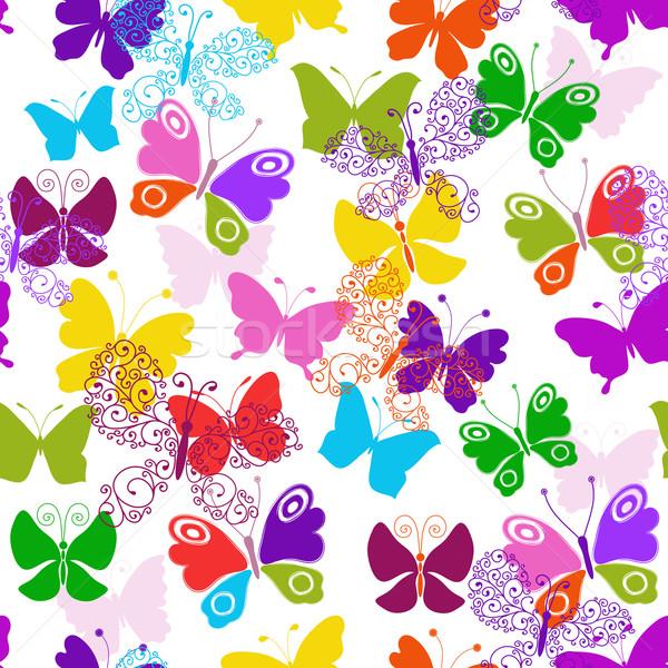 Primavera sin costura blanco patrón colorido Foto stock © OlgaDrozd