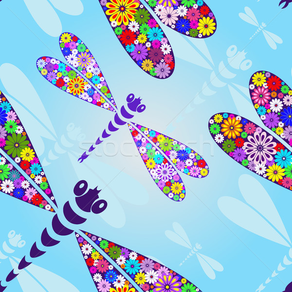 Spring seamless pattern with dragonflies Stock photo © OlgaDrozd