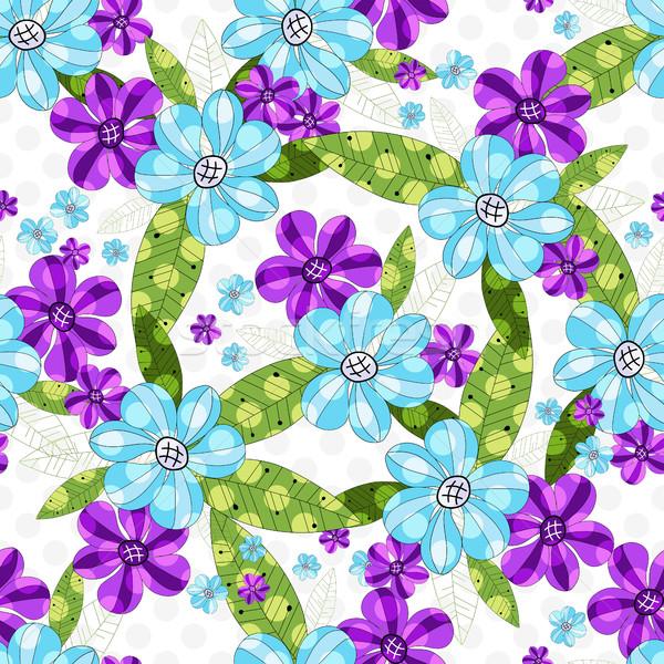 Virágmintás végtelenített tavasz klasszikus minta kék Stock fotó © OlgaDrozd
