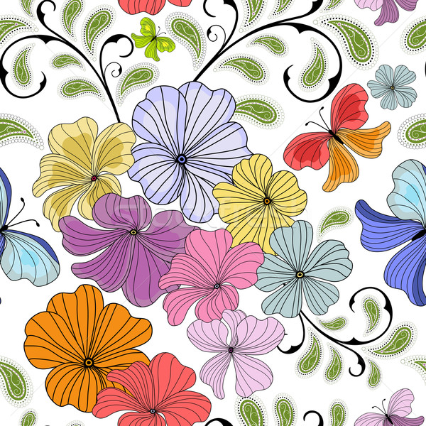 Blanche floral modèle pastel Photo stock © OlgaDrozd