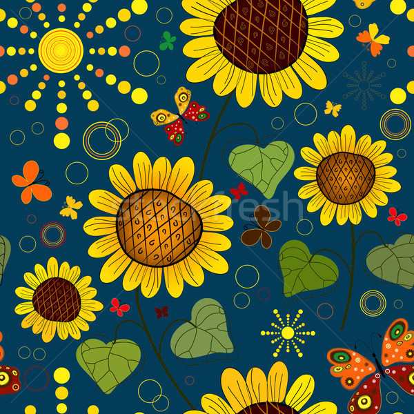 Seamless floral dark blue summer pattern Stock photo © OlgaDrozd